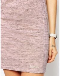 Bench | Pink Sleeveless T-shirt Dress With Rouched Side & Cowl Back | Lyst