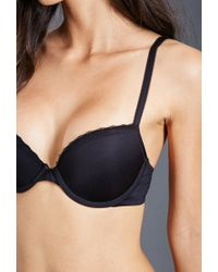 Forever 21 | Black Lace-trimmed Push-up Bra | Lyst