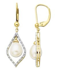 Lord & Taylor | White Freshwater Pearl And Diamond Drop Earrings In 14 Kt. Yellow Gold 7mm X 9mm | Lyst