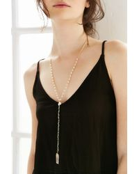 Urban Outfitters | Metallic Crystal Rosary Pendant Necklace | Lyst
