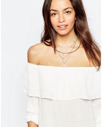 Oasis | Metallic Multi Row Necklace | Lyst