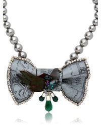 Bijoux De Famille - Gray Mr Pigeon Bow Necklace - Lyst