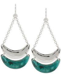 Robert Lee Morris - Green Silver-tone Patina Crescent Chandelier Earrings - Lyst