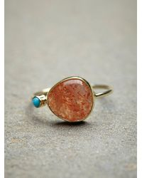 Free People | Metallic Sunstone Slice Ring | Lyst