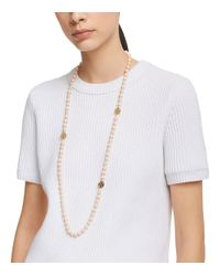 Tory Burch - Black Dipped Evie Mini Rosary Necklace - Lyst