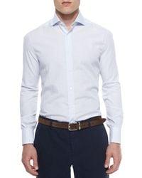 Brunello Cucinelli - Blue Tonal Graph-check Long-sleeve Shirt for Men - Lyst