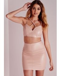 Missguided | Natural Faux Leather Cross Front Sweetheart Bralet Nude | Lyst