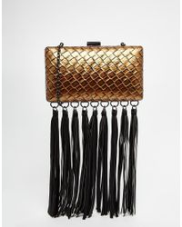 Glamorous | Red Bronze Woven Clutch Bag With Fringing | Lyst