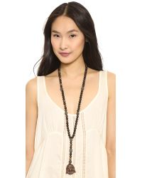 Hipchik Couture - Wooden Beaded Buddha Necklace - Brown - Lyst
