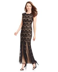 Betsy & Adam | Black Petite Cap-sleeve Lace Gown | Lyst