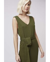 TOPSHOP - Natural Belted Ribbed Midi Dress - Lyst