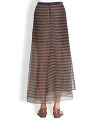 Brunello Cucinelli - Silk Striped Skirt - Lyst