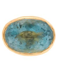 Ram   Blue 22kt Gold Aquamarine Stone Ring   Lyst