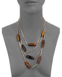 Alexis Bittar | Metallic Miss Havisham Jagged Tiger's Eye & Crystal Spear Multi-strand Necklace | Lyst