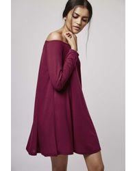 TOPSHOP - Purple Bardot Skater Dress By Glamorous - Lyst