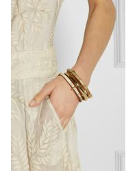 Ashley Pittman - Metallic Karibu Set Of Three Horn and Goldtone Bangles - Lyst
