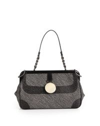 Bottega Veneta | Gray Tweed Satchel | Lyst