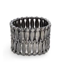Saks Fifth Avenue | Metallic Gunmetal Beaded Stretch Bracelet | Lyst