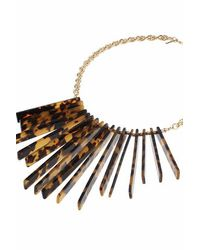 TOPSHOP | Brown Tortoiseshell Stick Drop Necklace | Lyst