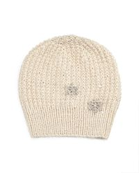 Jennifer Behr | Natural Crystal Snowflake Knit Blizzard Beanie Hat | Lyst