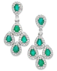 Macy's | Green Emerald (1-1/2 Ct. T.w.) And Diamond (3/4 Ct. T.w.) Drop Earrings In 14k White Gold | Lyst