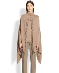 ESCADA | Brown Virgin Wool/Silk/Cashmere Fringe Cape | Lyst