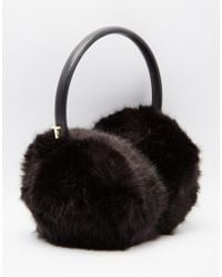Ted Baker | Black Faux Fur Ear Muffs | Lyst