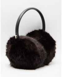 Ted Baker | Black Alvie Faux Fur Earmuffs | Lyst