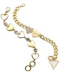 Guess - Metallic Gold-tone Heart Charm Bracelet Set - Lyst