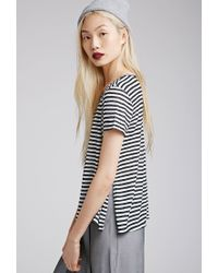 Forever 21 - Black High-slit Striped Top You've Been Added To The Waitlist - Lyst