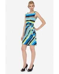 Tahari | Green Stripe Jersey Side Tie Dress | Lyst