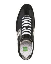 BOSS Green | Black Sneakers 'spacito' In A Textile Mix With Leather for Men | Lyst