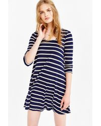 BDG - Blue 3/4 Sleeve Swingy Tee Dress - Lyst