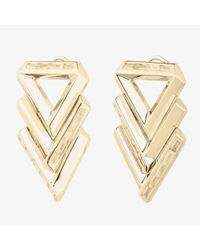 Eddie Borgo | Metallic Twill Chevron Earrings Gold | Lyst