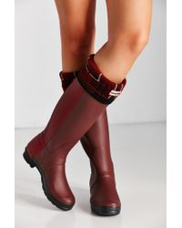 HUNTER - Red Knit Tartan Boot Sock - Lyst