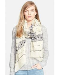 Tory Burch - Natural Embroidered Stripe Linen Scarf - Lyst