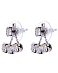 DANNIJO | Metallic Oxidised Silver Donna Swarovski Jacket Stud Earrings | Lyst