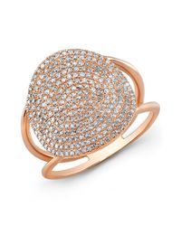 Anne Sisteron | Pink 14kt Rose Gold Diamond Disc Ring | Lyst