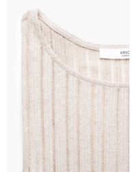 Mango - Natural Ribbed Long Dress - Lyst