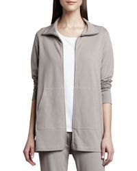 Eileen Fisher | Gray Organic Cotton Zip Jacket | Lyst