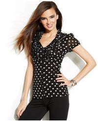 INC International Concepts | Black Petite Ruffle Front Polka-Dot Top | Lyst
