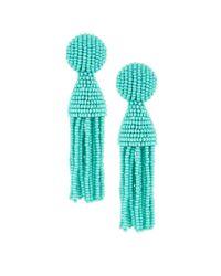 Oscar de la Renta - Blue Short Beaded Tassel Clip Earrings - Lyst