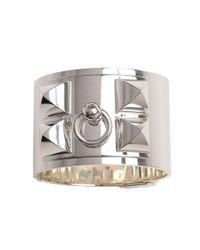 Hermès | Metallic Sterling Silver Wide Collier De Chien Bracelet | Lyst