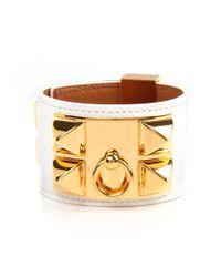 Hermès - White Epsom Leather Collier De Chien Bracelet - Lyst