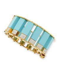 Lele Sadoughi | Metallic Turquoise & Crystal Column Bracelet | Lyst