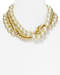 Kenneth Jay Lane | White Triple Row Mixed Faux-Pearl Necklace, 18"