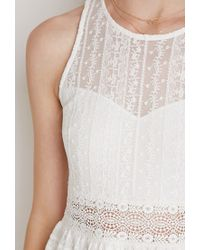 Forever 21 | Natural Ornate Embroidered-mesh Dress | Lyst