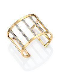 Michael Kors | Metallic Motif Pave Bar Cage Cuff Bracelet/Goldtone | Lyst