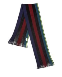 Paul Smith | Black Striped Knit Wool Scarf for Men | Lyst