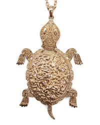 Mango - Metallic Turtle Pendant Necklace - Lyst
